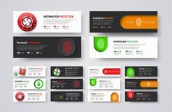 Insieme delle insegne orizzontali di web per proteggere informazioni ed i dati Fotografia Stock