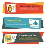 Insieme delle insegne orizzontali per trasportare, attività di estate e di campeggio Fotografia Stock Libera da Diritti