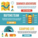 Insieme delle insegne orizzontali per trasportare, attività di estate e di campeggio Immagine Stock