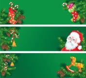 Insieme delle insegne orizzontali w del nuovo anno e di Natale Immagini Stock