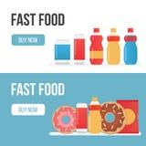 Insieme delle insegne per gli alimenti a rapida preparazione di tema Immagini Stock