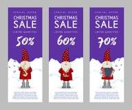 Insieme delle insegne Santa Claus sveglia di vendita di Natale illustrazione di stock