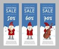 Insieme delle insegne Santa Claus sveglia di vendita di Natale illustrazione vettoriale