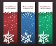 Insieme delle insegne verticali di Natale. Fotografia Stock