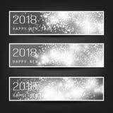Insieme delle intestazioni o delle insegne orizzontali astratte in bianco e nero del nuovo anno per l'anno 2018 Immagini Stock Libere da Diritti