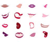 Insieme delle labbra colorate del fumetto Fotografie Stock