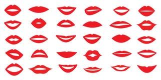 Insieme delle labbra del ` s della donna Forma differente delle labbra Emozioni differenti Illustrazione di vettore 30 pezzi royalty illustrazione gratis