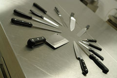 Insieme delle lame di cucina Fotografie Stock