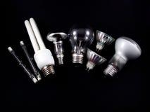 Insieme delle lampadine elettriche Fotografia Stock