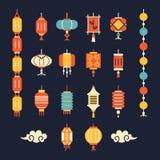 Insieme delle lanterne cinesi Fotografia Stock