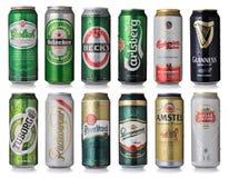 Insieme delle latte di birra Immagine Stock