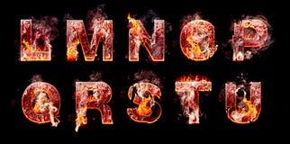 Insieme delle lettere brucianti dell'inferno Fotografie Stock