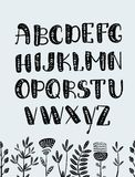 Insieme delle lettere di ABC fonte grafica disegnata a mano variopinta alfabeto tribale etnico di vettore Immagini Stock Libere da Diritti