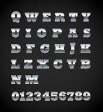 Insieme delle lettere opache del metallo Immagine Stock