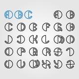 Insieme delle lettere rotonde di alfabeto Fotografia Stock