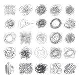 Insieme delle linee di strutture disegnate a mano, scarabocchi dell'inchiostro della penna Immagine Stock