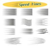 Insieme delle linee di velocità Elementi di progettazione per la manga ed i fumetti Illustrazioni di vettore per i vostri progett illustrazione vettoriale
