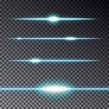 Insieme delle linee trasparenti blu effetto con la scintilla isolata sul da Fotografia Stock Libera da Diritti