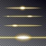 Insieme delle linee trasparenti dorate effetto con la scintilla sopra Immagine Stock
