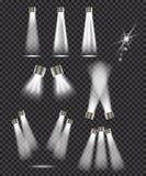 Insieme delle luci del punto su fondo trasparente Fotografie Stock Libere da Diritti