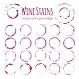 Insieme delle macchie del vino rosso Immagine Stock