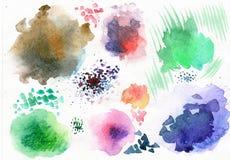 Insieme delle macchie dell'acquerello di colore Fotografia Stock