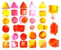 Insieme delle macchie dell'acquerello di colore arancio rosso Fotografia Stock Libera da Diritti
