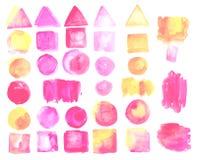 Insieme delle macchie dell'acquerello di colore del quarzo rosa Fotografia Stock