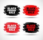 Insieme delle macchie disegnate a mano di lerciume di vendita di Black Friday Immagini Stock