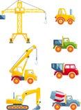 Insieme delle macchine della costruzione pesante dei giocattoli in uno stile piano Fotografia Stock