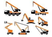Insieme delle macchine della costruzione pesante Illustrazione di vettore Fotografia Stock
