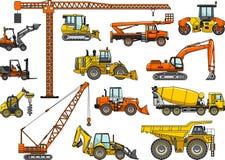 Insieme delle macchine della costruzione pesante Illustrazione di vettore Immagini Stock