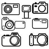 Insieme delle macchine fotografiche digitali Fotografia Stock Libera da Diritti