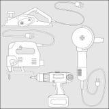 Insieme delle macchine utensili - schizzo di vettore del profilo Immagine Stock