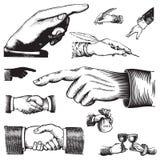 Insieme delle mani antiche () Fotografie Stock Libere da Diritti