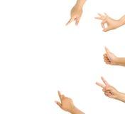 Insieme delle mani che indicano e che accettano Fotografia Stock Libera da Diritti