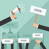 Insieme delle mani che tengono i segni differenti Concetto di voto Illustrazione di vettore Fotografia Stock