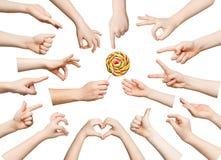 Insieme delle mani del bambino che mostrano i simboli Immagini Stock Libere da Diritti