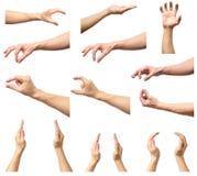 Insieme delle mani dell'uomo che misurano gli oggetti invisibili Immagini Stock