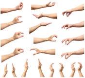 Insieme delle mani dell'uomo che misurano gli oggetti invisibili Fotografia Stock Libera da Diritti