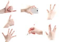 Insieme delle mani della donna isolate su fondo bianco Immagini Stock