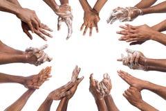 Insieme delle mani di lavaggio dell'uomo di colore isolate su fondo bianco Fotografia Stock Libera da Diritti