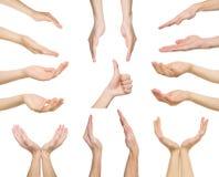 Insieme delle mani maschii bianche che mostrano i simboli Immagine Stock Libera da Diritti