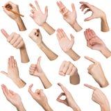 Insieme delle mani maschii bianche che mostrano i simboli Immagini Stock Libere da Diritti