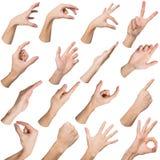 Insieme delle mani maschii bianche che mostrano i simboli Immagine Stock