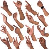 Insieme delle mani maschii nere che mostrano i simboli Immagine Stock Libera da Diritti