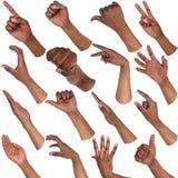 Insieme delle mani maschii nere che mostrano i simboli Fotografia Stock Libera da Diritti