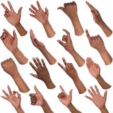 Insieme delle mani maschii nere che mostrano i simboli Fotografie Stock