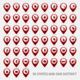 Insieme delle mappe degli stati USA Le Americhe unita 50 e 1 Immagini Stock