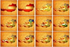 Insieme delle mappe dell'amministrazione dell'Austria Fotografia Stock